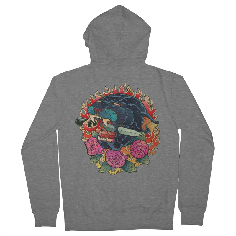 Burning Roses  Women's French Terry Zip-Up Hoody by villainmazk's Artist Shop