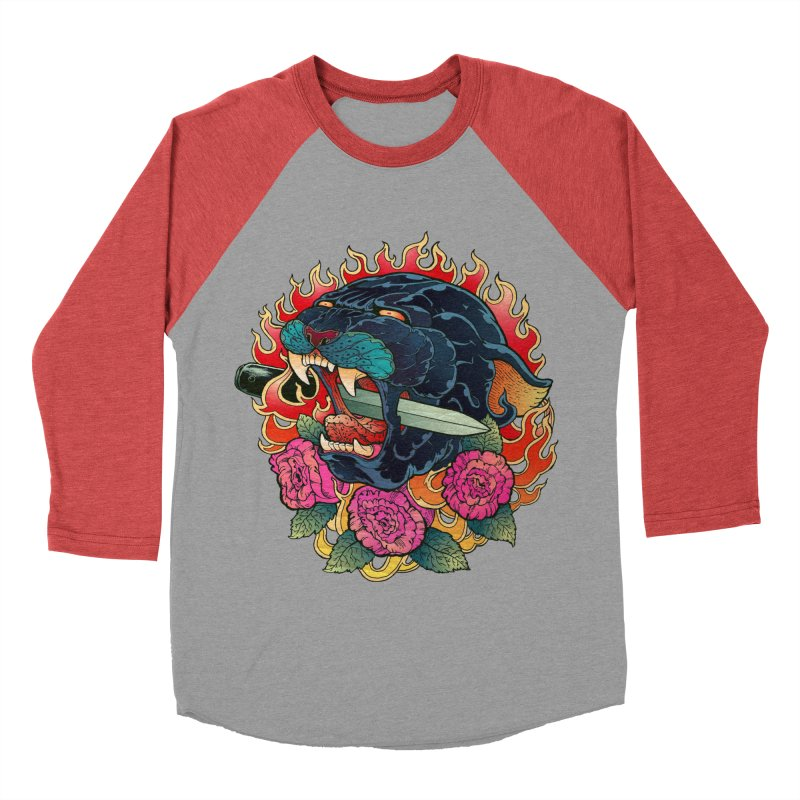 Burning Roses  Men's Baseball Triblend T-Shirt by villainmazk's Artist Shop
