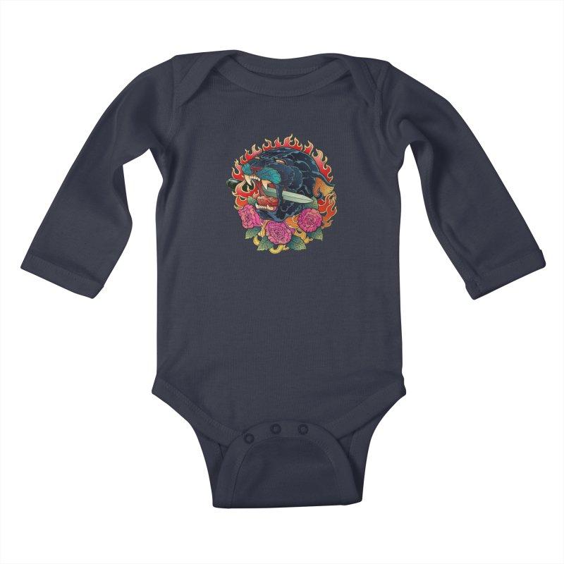 Burning Roses  Kids Baby Longsleeve Bodysuit by villainmazk's Artist Shop