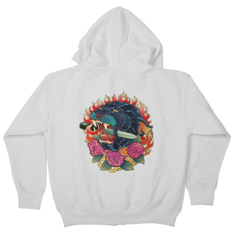 Burning Roses  Kids Zip-Up Hoody by villainmazk's Artist Shop