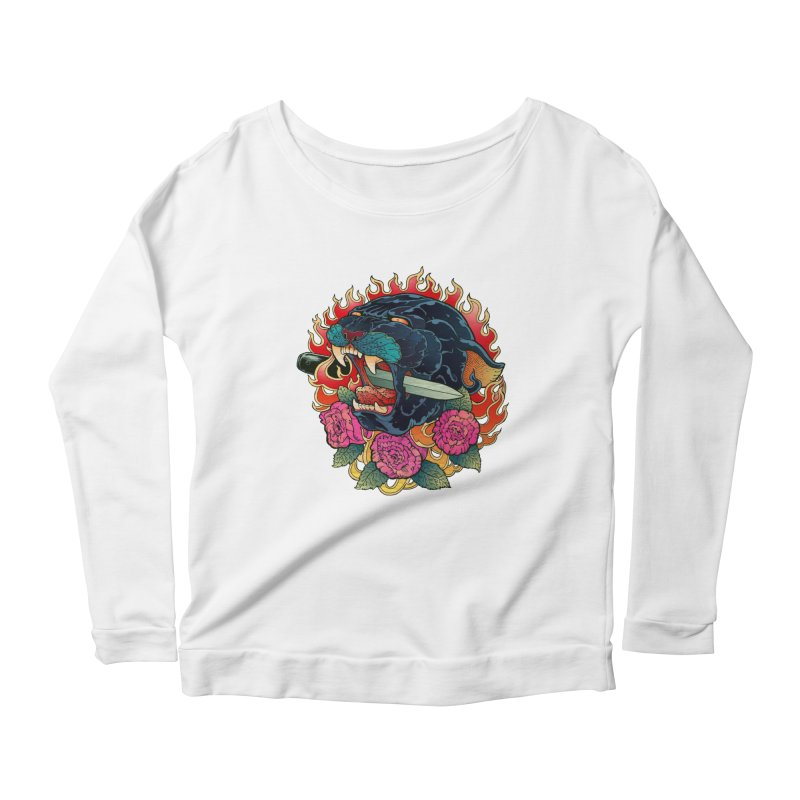 Burning Roses  Women's Longsleeve Scoopneck  by villainmazk's Artist Shop