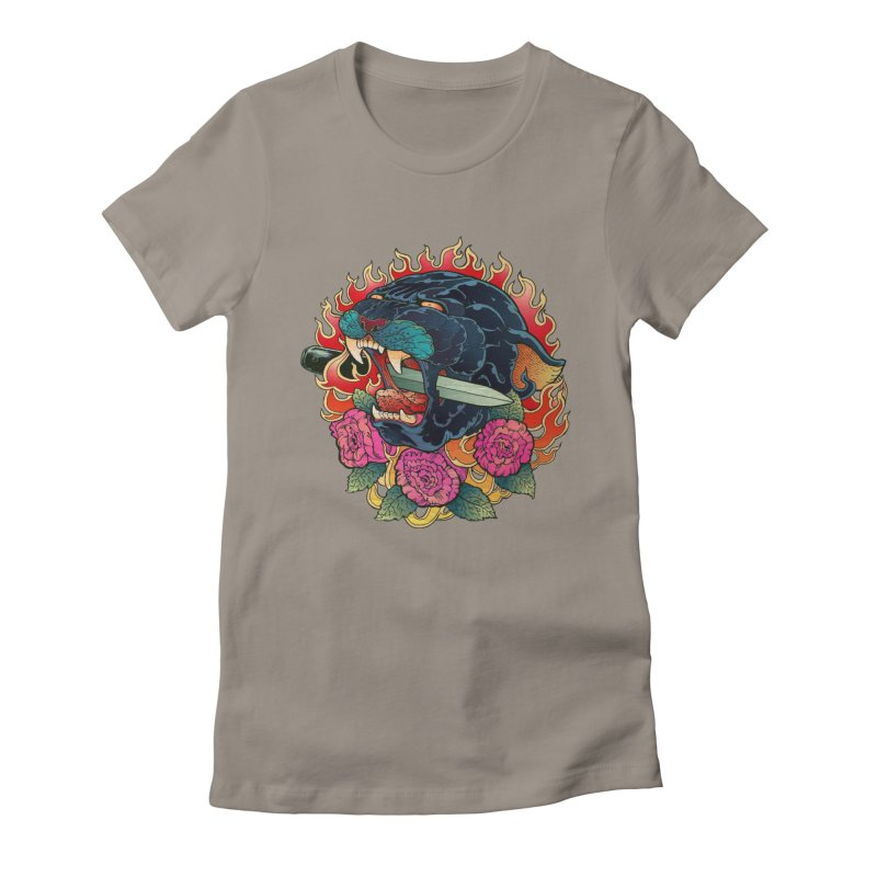 Burning Roses  Women's Fitted T-Shirt by villainmazk's Artist Shop