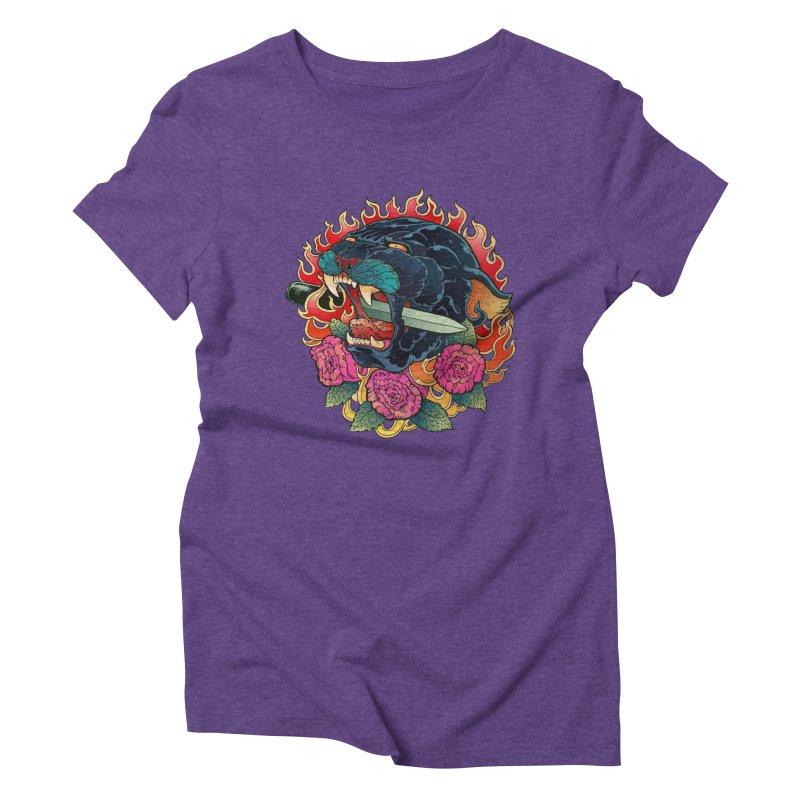 Burning Roses  Women's Triblend T-shirt by villainmazk's Artist Shop