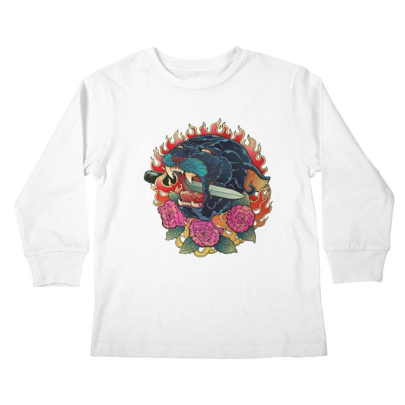 Burning Roses  Kids Longsleeve T-Shirt by villainmazk's Artist Shop