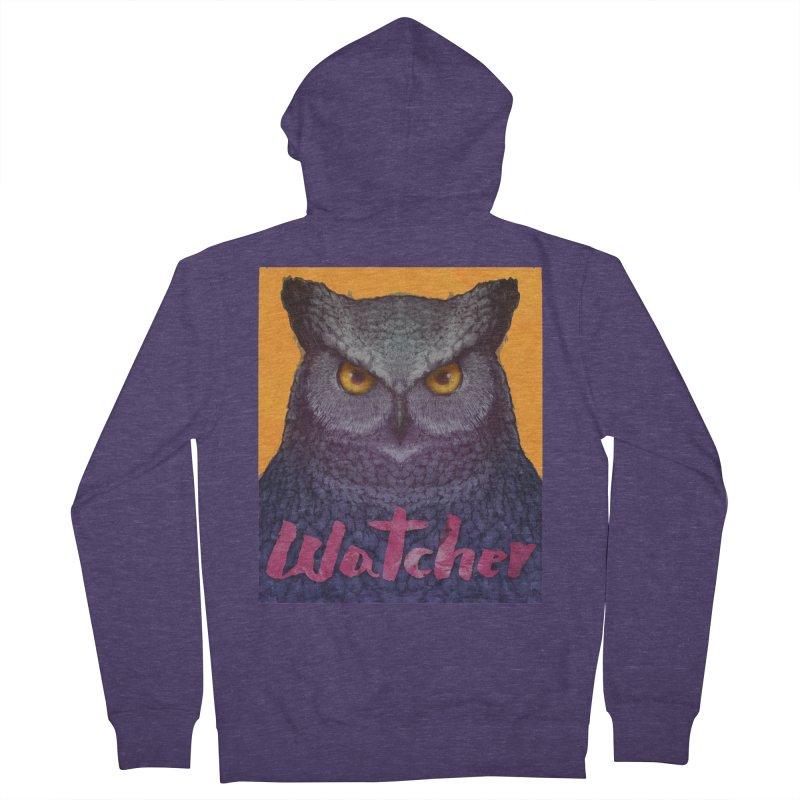 Owl Watcher Men's Zip-Up Hoody by villainmazk's Artist Shop