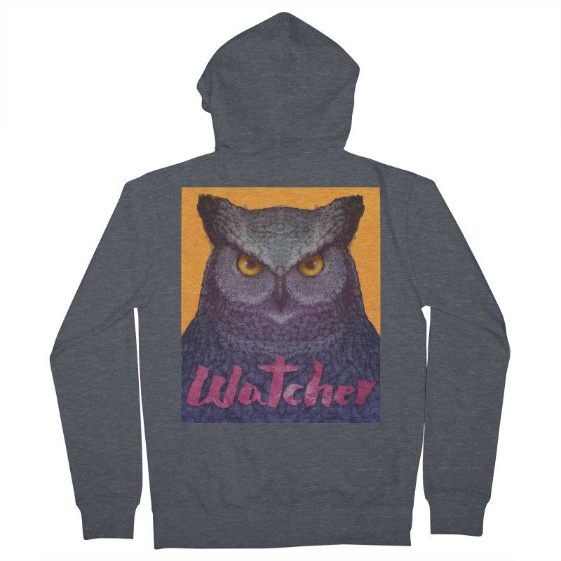 Owl Watcher Men's French Terry Zip-Up Hoody by villainmazk's Artist Shop