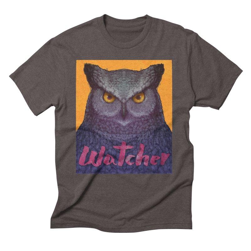 Owl Watcher Men's Triblend T-Shirt by villainmazk's Artist Shop