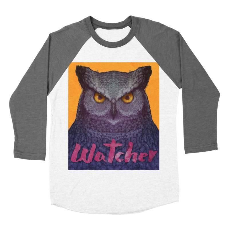 Owl Watcher Men's Baseball Triblend T-Shirt by villainmazk's Artist Shop