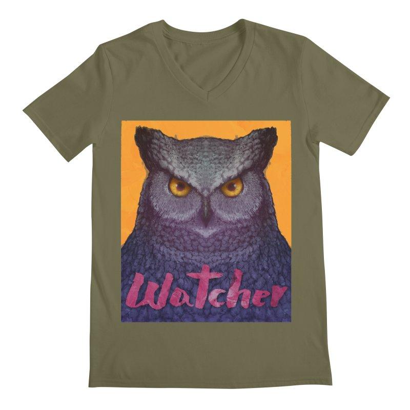 Owl Watcher Men's V-Neck by villainmazk's Artist Shop