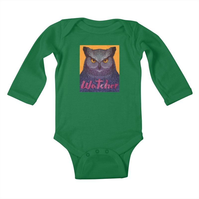 Owl Watcher Kids Baby Longsleeve Bodysuit by villainmazk's Artist Shop