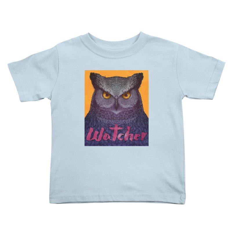 Owl Watcher Kids Toddler T-Shirt by villainmazk's Artist Shop