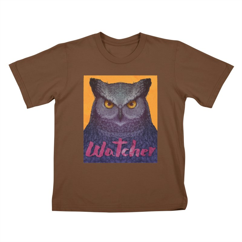Owl Watcher Kids T-shirt by villainmazk's Artist Shop
