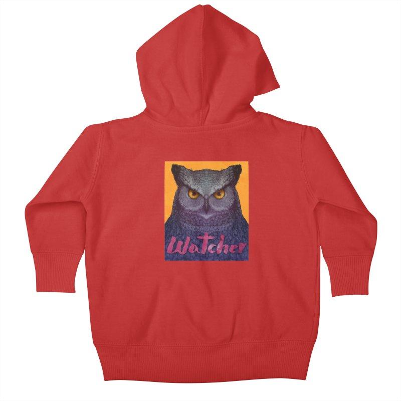 Owl Watcher Kids Baby Zip-Up Hoody by villainmazk's Artist Shop