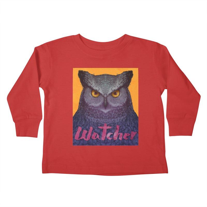 Owl Watcher Kids Toddler Longsleeve T-Shirt by villainmazk's Artist Shop