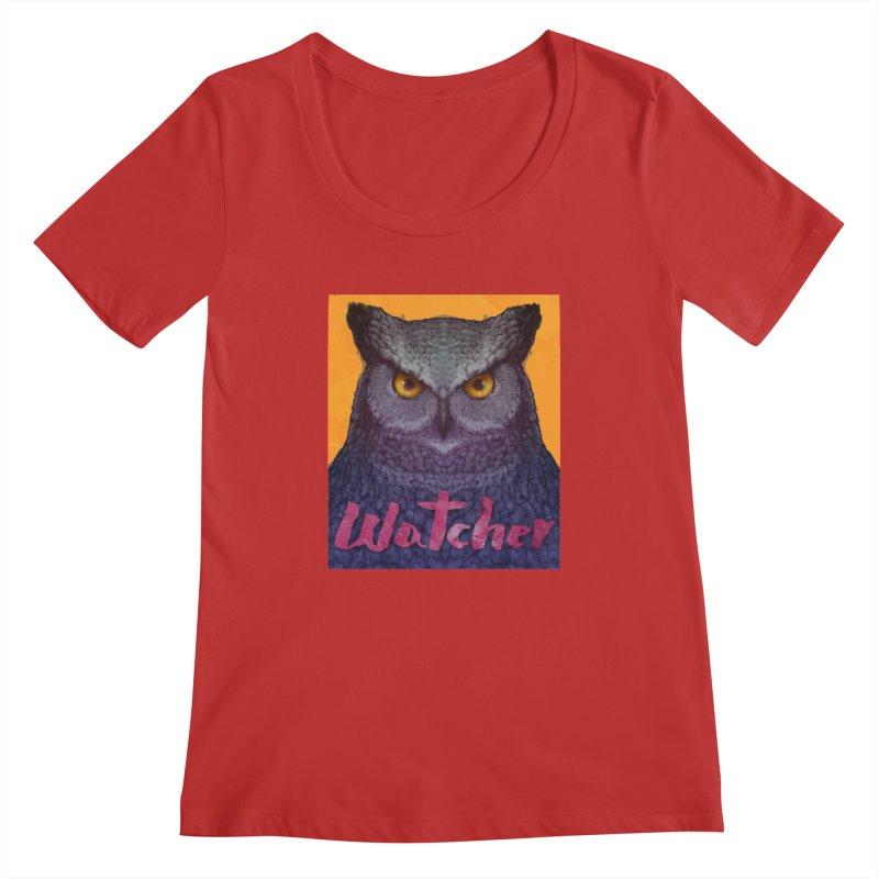 Owl Watcher Women's Regular Scoop Neck by villainmazk's Artist Shop