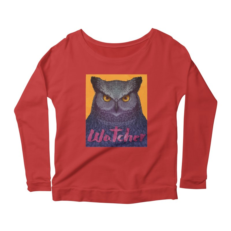 Owl Watcher Women's Longsleeve Scoopneck  by villainmazk's Artist Shop