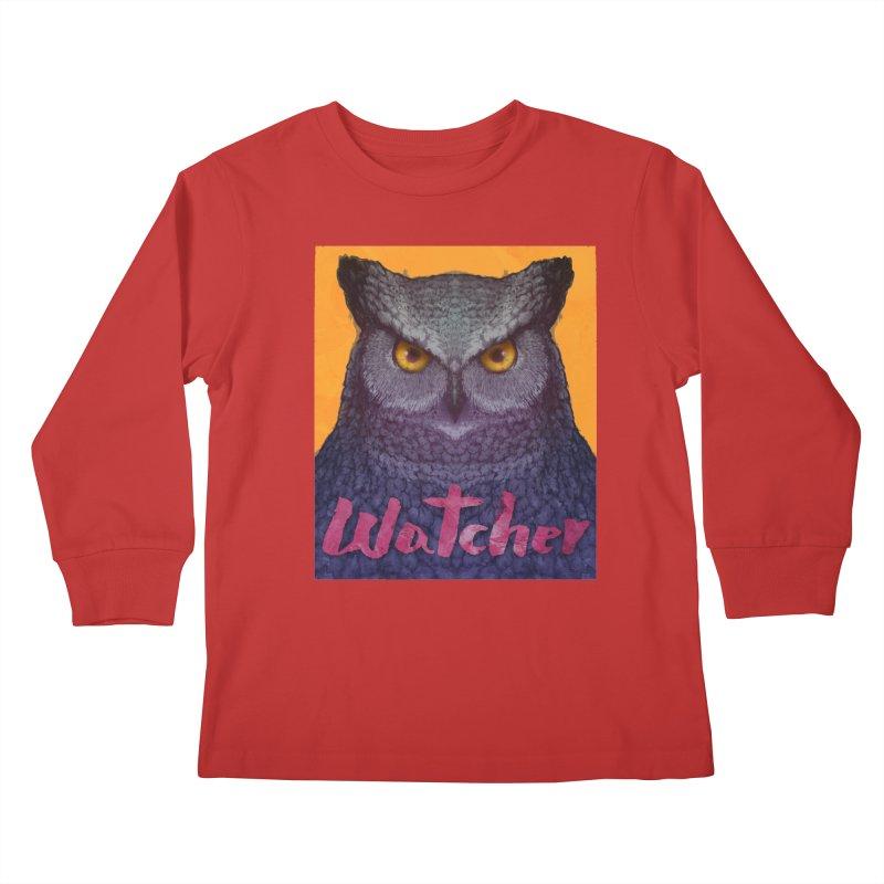 Owl Watcher Kids Longsleeve T-Shirt by villainmazk's Artist Shop