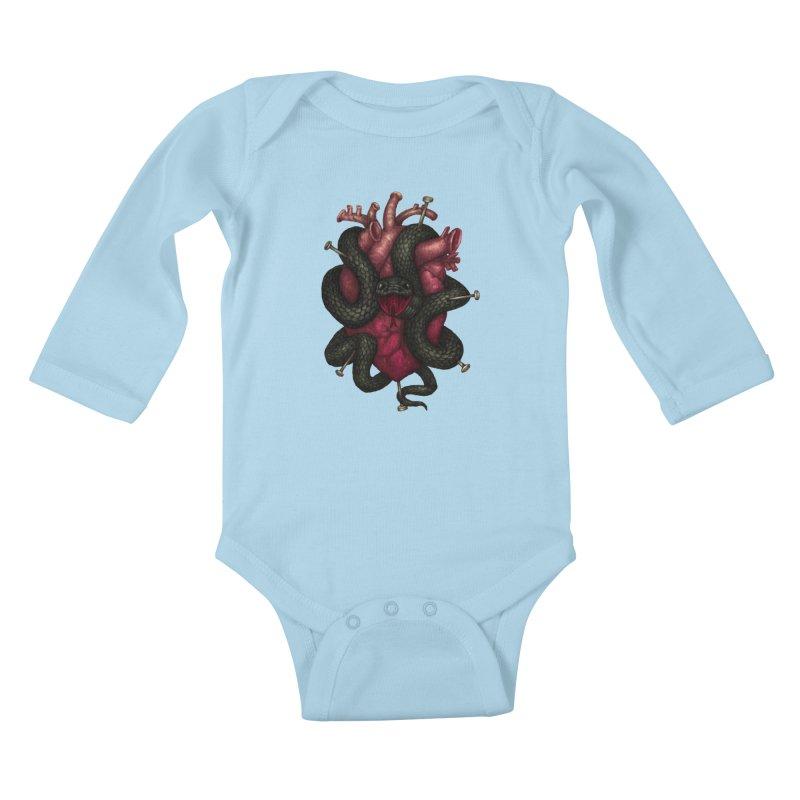 Black Heart Kids Baby Longsleeve Bodysuit by villainmazk's Artist Shop