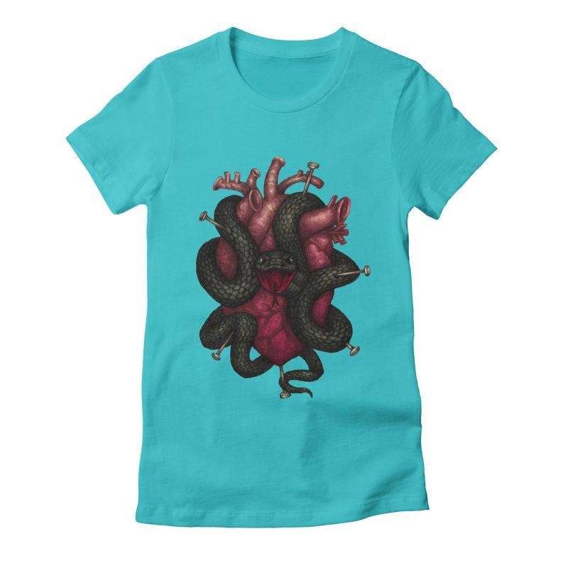 Black Heart Women's Fitted T-Shirt by villainmazk's Artist Shop