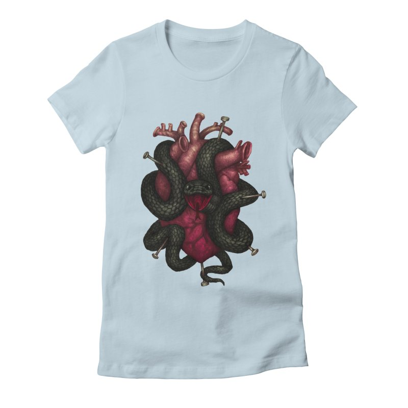 Black Heart Women's Fitted T-Shirt by villainmazk's Artist Shop