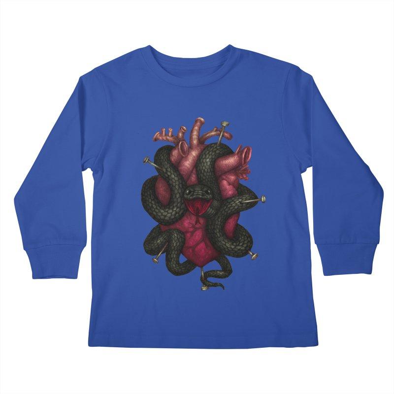Black Heart Kids Longsleeve T-Shirt by villainmazk's Artist Shop