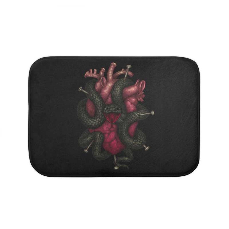 Black Heart Home Bath Mat by villainmazk's Artist Shop