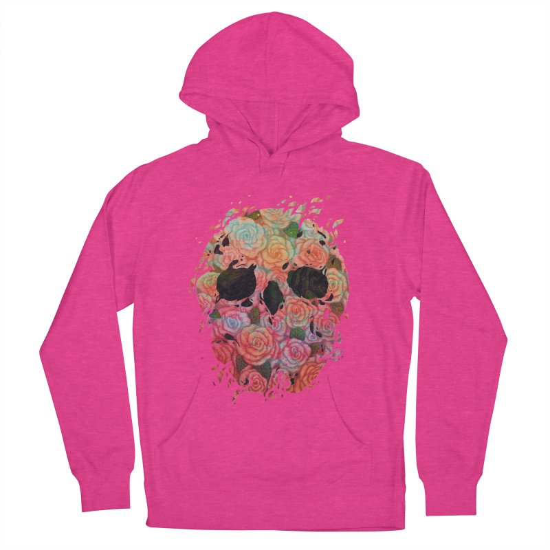 Skull Roses Women's French Terry Pullover Hoody by villainmazk's Artist Shop
