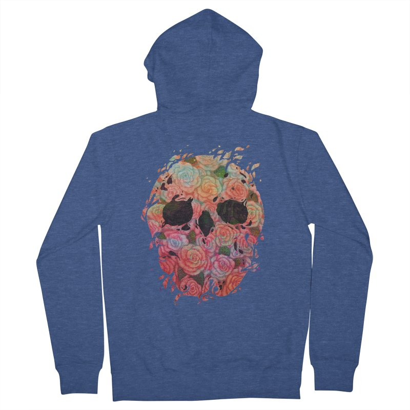 Skull Roses Women's French Terry Zip-Up Hoody by villainmazk's Artist Shop