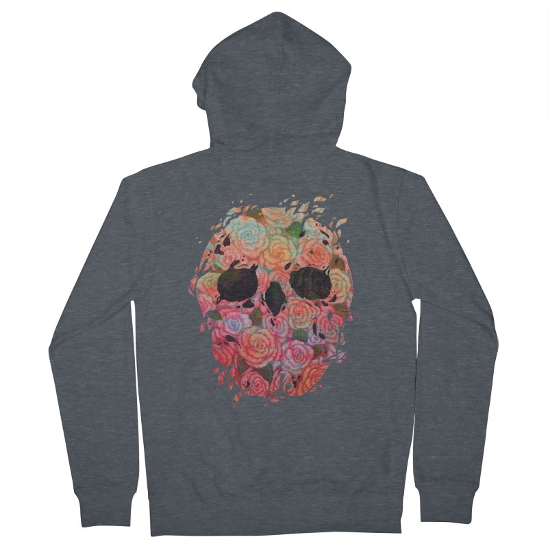 Skull Roses Men's French Terry Zip-Up Hoody by villainmazk's Artist Shop