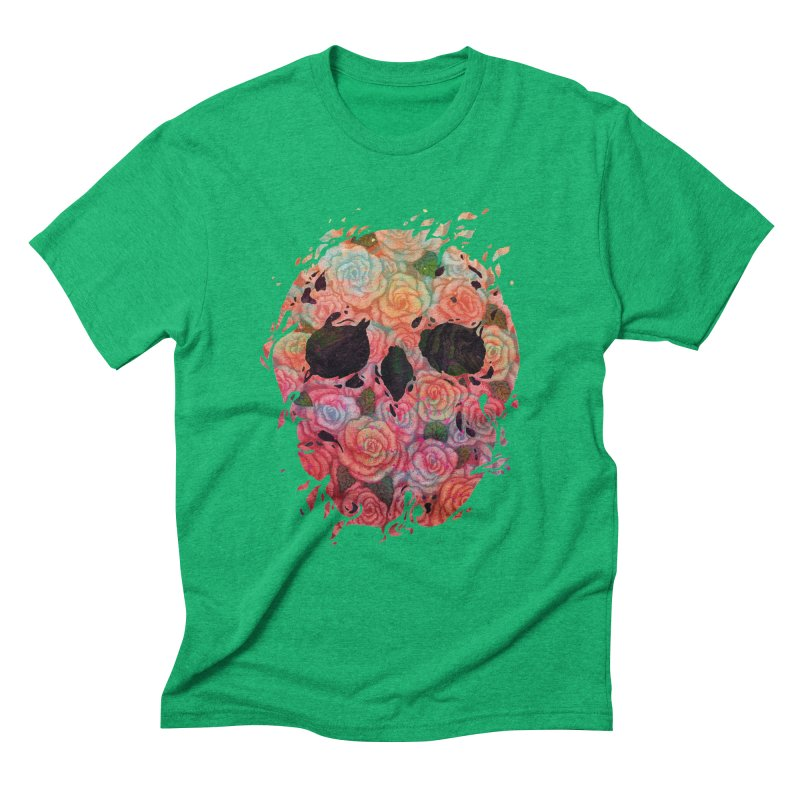 Skull Roses Men's Triblend T-Shirt by villainmazk's Artist Shop
