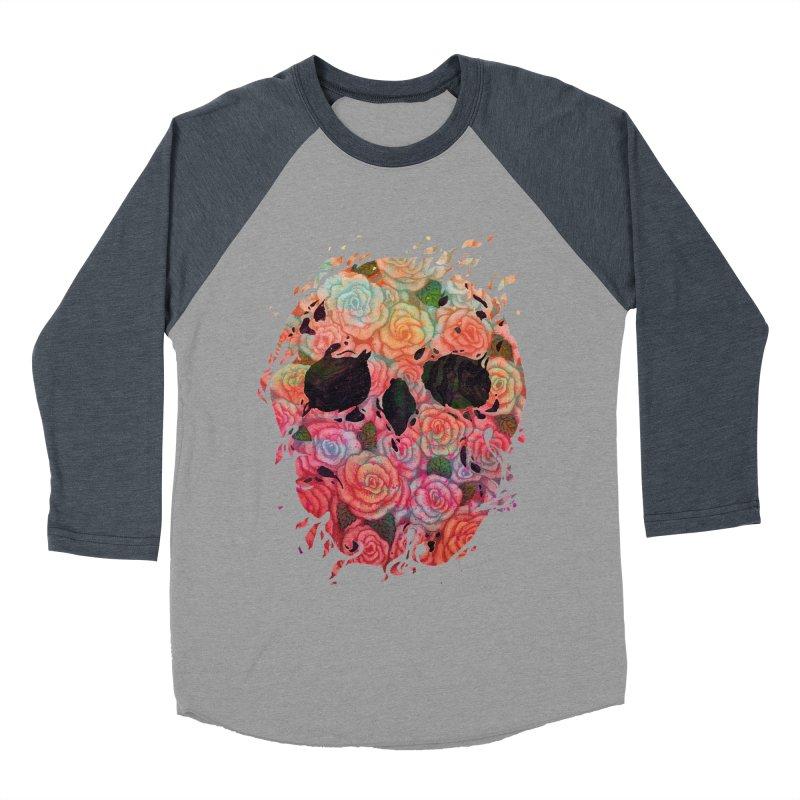 Skull Roses Men's Baseball Triblend T-Shirt by villainmazk's Artist Shop