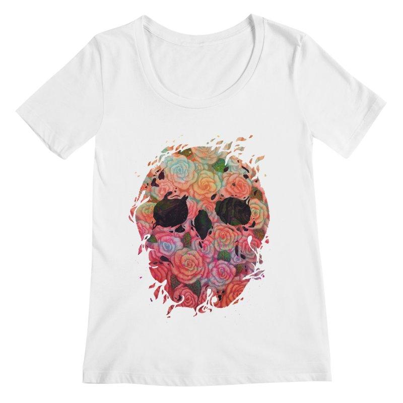 Skull Roses Women's Regular Scoop Neck by villainmazk's Artist Shop