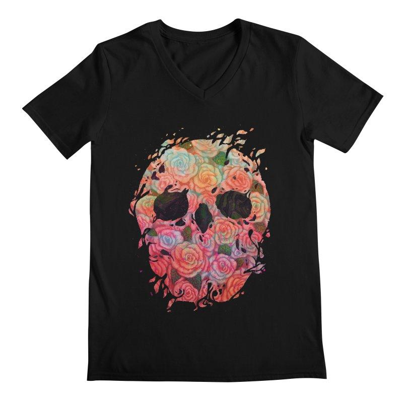 Skull Roses Men's V-Neck by villainmazk's Artist Shop