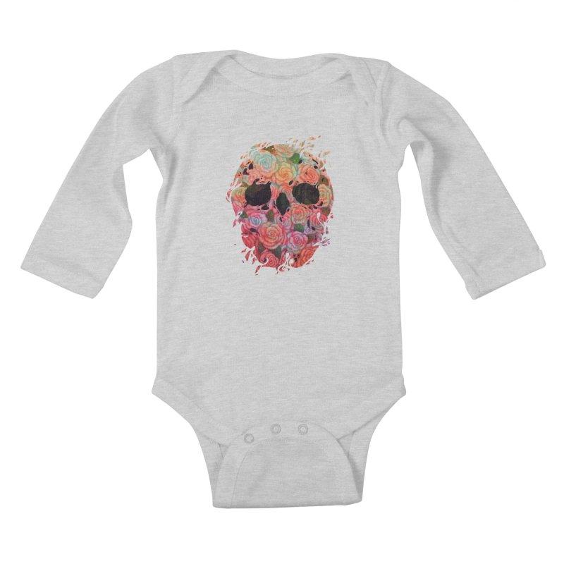 Skull Roses Kids Baby Longsleeve Bodysuit by villainmazk's Artist Shop