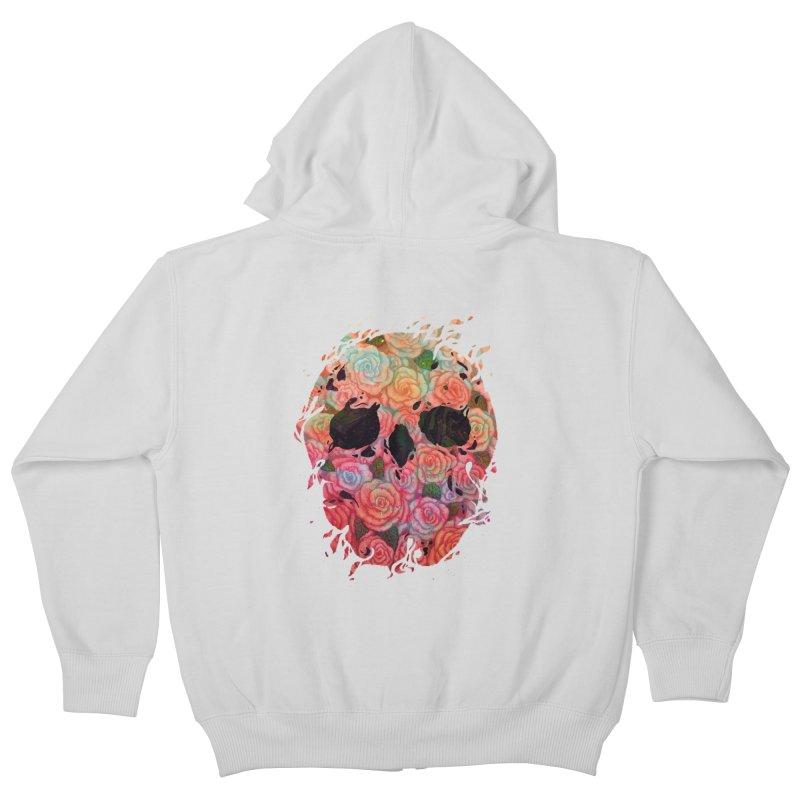 Skull Roses Kids Zip-Up Hoody by villainmazk's Artist Shop