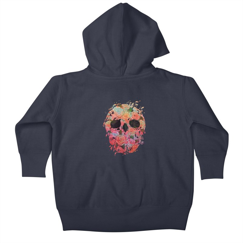 Skull Roses Kids Baby Zip-Up Hoody by villainmazk's Artist Shop