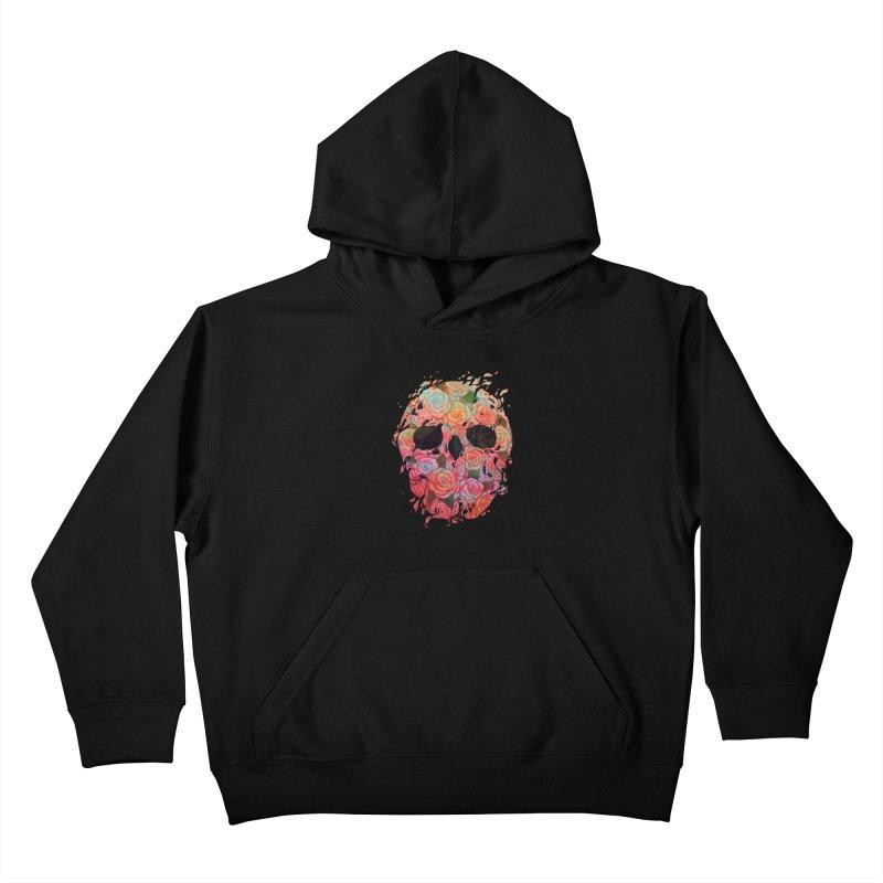 Skull Roses Kids Pullover Hoody by villainmazk's Artist Shop