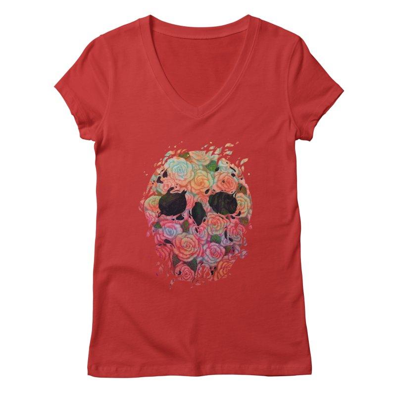 Skull Roses Women's V-Neck by villainmazk's Artist Shop