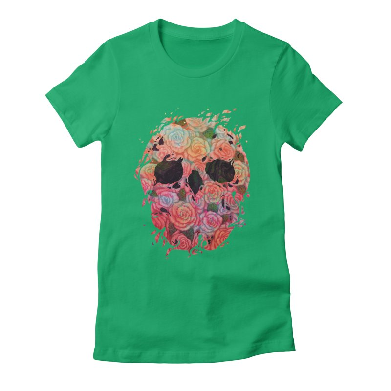 Skull Roses Women's Fitted T-Shirt by villainmazk's Artist Shop