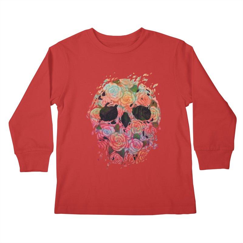 Skull Roses Kids Longsleeve T-Shirt by villainmazk's Artist Shop