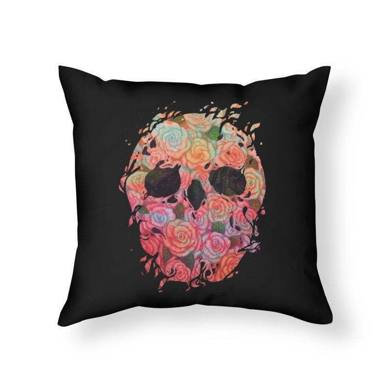 Skull Roses Home Throw Pillow by villainmazk's Artist Shop