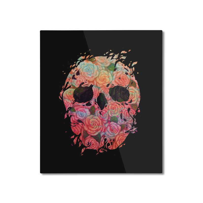 Skull Roses Home Mounted Aluminum Print by villainmazk's Artist Shop