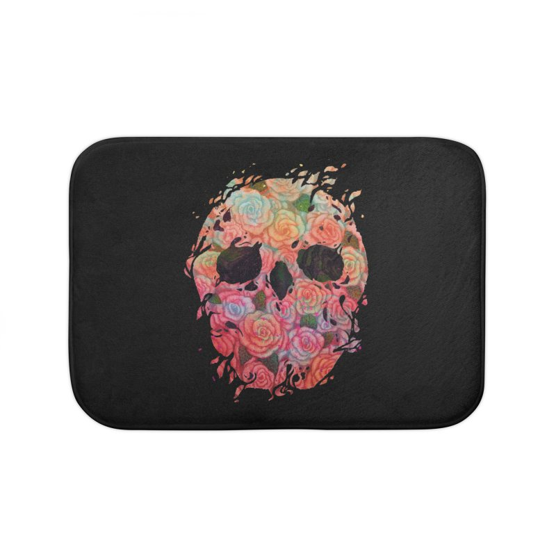 Skull Roses Home Bath Mat by villainmazk's Artist Shop
