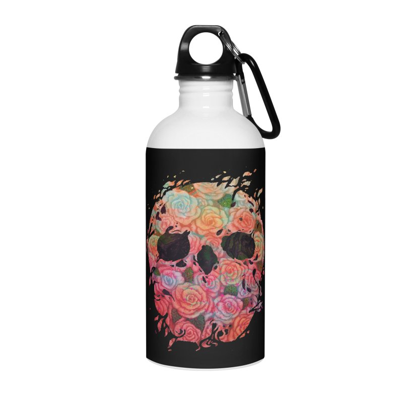 Skull Roses Accessories Water Bottle by villainmazk's Artist Shop