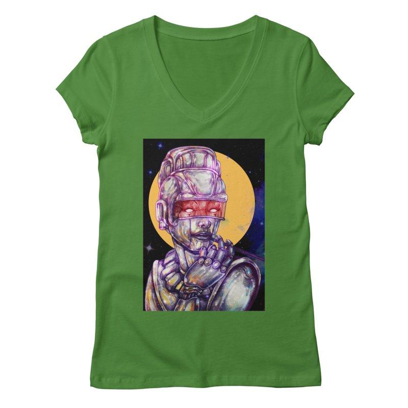 Iron Audrey Women's V-Neck by villainmazk's Artist Shop