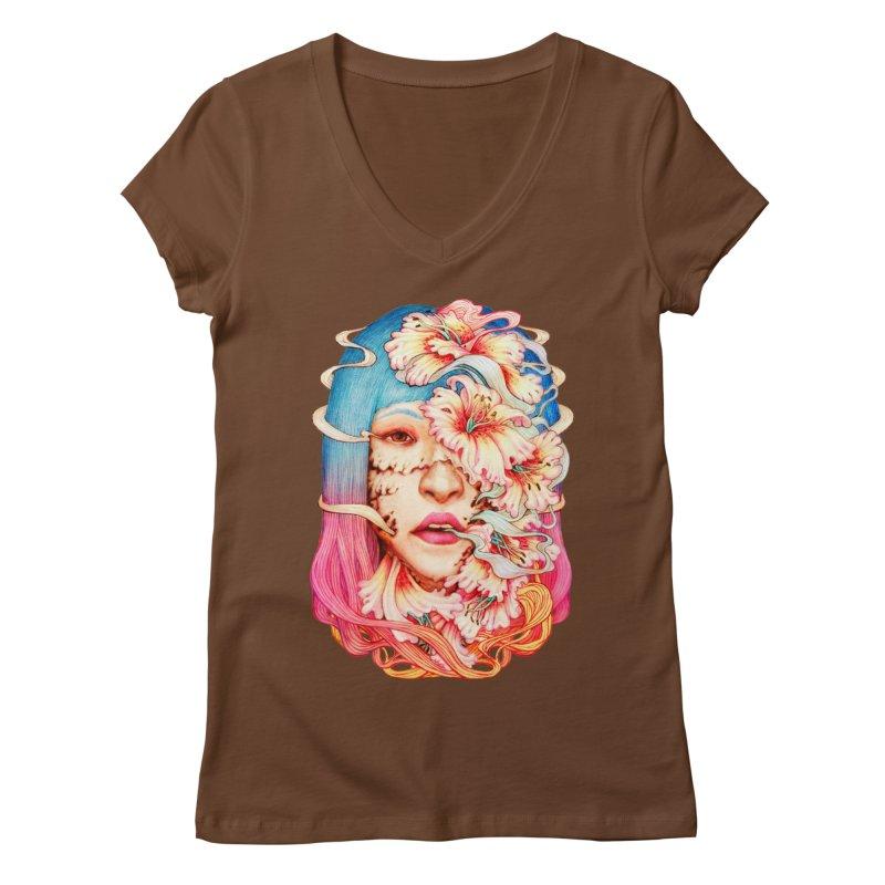 The Shape of Flowers Women's V-Neck by villainmazk's Artist Shop
