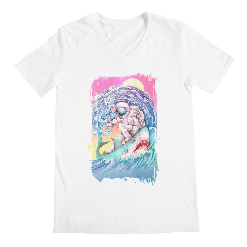 Shark Surfer Men's V-Neck by villainmazk's Artist Shop
