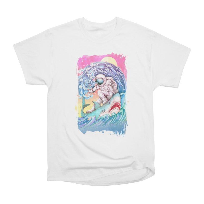 Shark Surfer Women's Heavyweight Unisex T-Shirt by villainmazk's Artist Shop