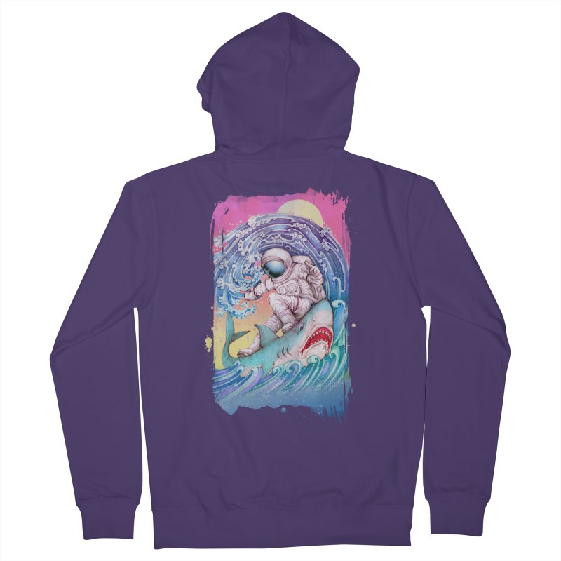 Shark Surfer Women's French Terry Zip-Up Hoody by villainmazk's Artist Shop