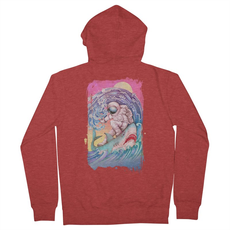 Shark Surfer Men's French Terry Zip-Up Hoody by villainmazk's Artist Shop